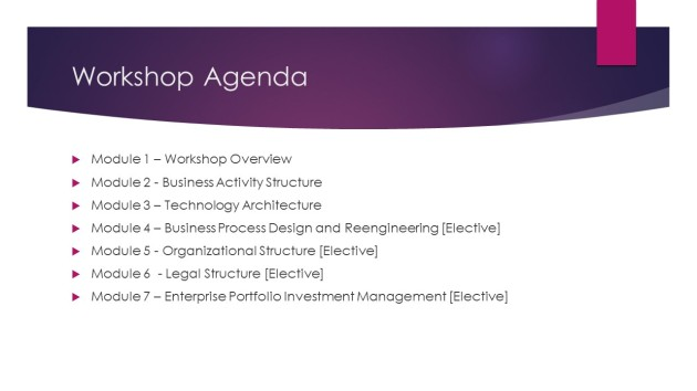 Business Design Course Agenda